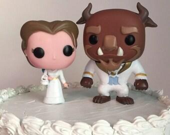 Custom Funko Pop Beauty and the Beast Wedding Cake Topper Set (FREE SHIPPING to U.S.)