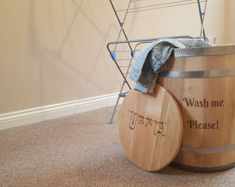 Personalised Custom Engraved Laundry Washing Clothes House Storage Decoration Barrel. Limewood.