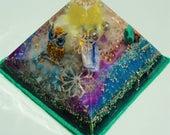 "Midnight Owl 4 x 3"" Metaphysical Glow in the Dark Orgone Pyramid (100 x 75mm) Crystal Energy Chakras"
