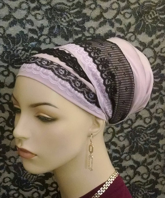 Soft lilac and lace sinar tichel, tichels, head scarves, chemo scarves, hair snoods