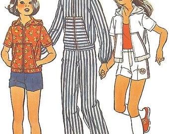 Vintage 1975 Girl's Shorts, Pants & Hoodie Jacket Sewing Pattern UNCUT Simplicity 6913 Size 12