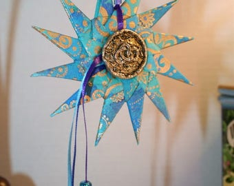 Origami Blue Purple Gold Spiral With Ribbon Hanging Ornament