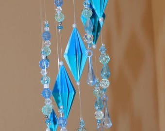 Origami Blue Diamonds And Beads Cascade Spiral Mobile