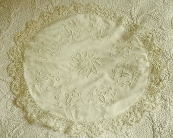 Antique Lace Cushion Cover Handmade and Embroidered