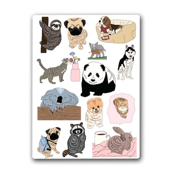 Animal stickerssloth stickerpanda stickerkoala stickerpug stickercat stickerbeagle stickerraccoon stickerrabbit stickerhusky
