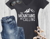 The Mountains Are Calling Shirt - Vacation Tee - Adventure is Calling - Camping - Hiking Tshirt - Rustic - I Must Go - Racerback - Tank Top