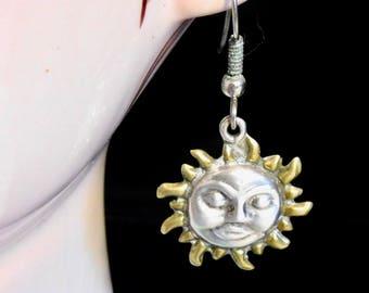 Mexican silver sun face earrings