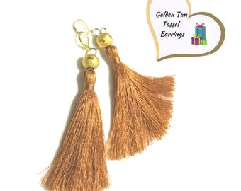 Tan Tassel Earrings, Gold Bead Tassel Earrings, Stylish Gift, Girlfriend Gift, Thank You Gift, On Trend Style,Free local Shipping