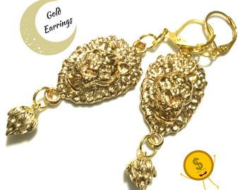 Gold Lion Earrings, Lion's Head Earrings, On Trend Earrings,  Xmas Gift, Loin and Lotus Drop Earrings, Appreciation gift,Free Local Shipping