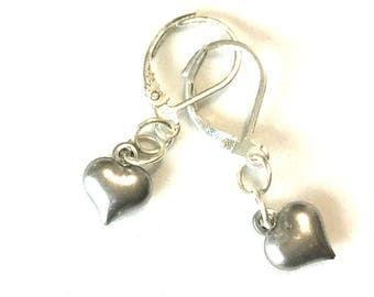 Miniature Valentine Heart Earrings, Silver Heart Earrings, Small Silver Heart Earrings, Trendy Stylish Gift, Gift for Her, Valentine Gift