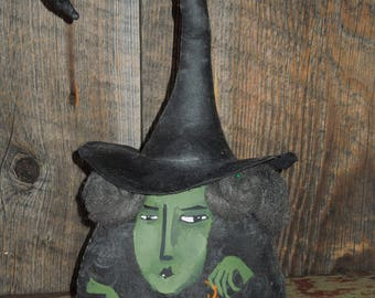 Maude withNewt Witch Soft Sculpture Primitive Doll