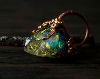 9/ Rainbow Crystal Resin Quartz Mermaid Fantasy Copper Electroformed Ring