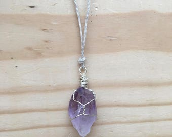 Amethyst Crystal Wrapped Adjustable Necklace