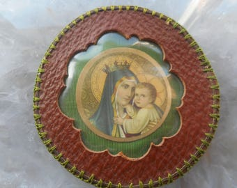 Religious Virgin Mary with child Jesus large pocket shrine in leather frame.