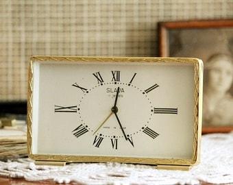 Working Vintage Clock - Soviet Alarm Clock - Metal Clock - Retro Clock - Old Mechanical Clock - Gold Colored Clock - Gift Idea