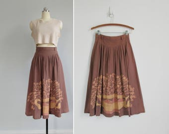 Brown midi skirt | Etsy