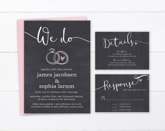 Printed Wedding Invitations, Printable Rustic Wedding Invitation Suite, Simple Chalk Invite and Response Cards, Custom Printed Wedding Set