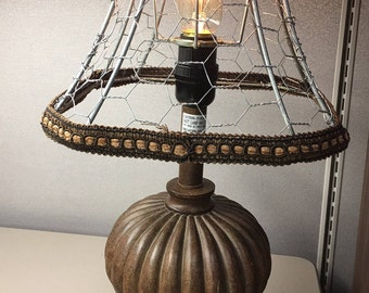 Mesh lamp shade etsy industrial meets shabby chic table lamp with wire mesh shade keyboard keysfo Choice Image