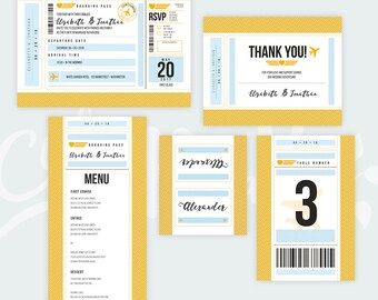 Travel Wedding Invitation Set - Boarding Pass Wedding Invitations - Plane Ticket Invitations For a Destination Wedding - Instant Download