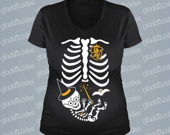Couple's Baby Wizard Maternity Skeleton T-shirt with Daddy shirt