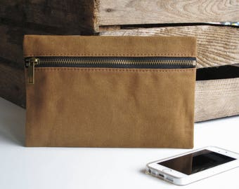 Waxed canvas zipper pouch, accessories case, toiletry bag, pencil case, fast shipping