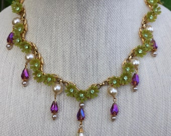 Vintage Floral Bib Necklace Chartreuse Daisies Amethyst and Pearl Drops