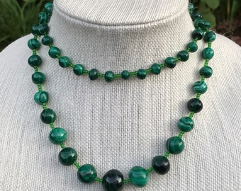 "Vintage Malachite Graduated Bead Necklace 32"" long  Malachite Bead Necklace"