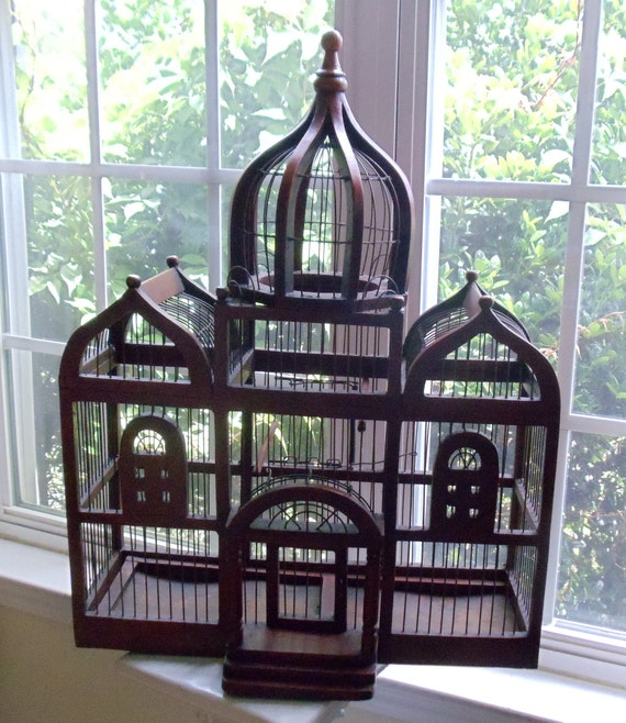 vintage large palace style bird cage domed victorian style. Black Bedroom Furniture Sets. Home Design Ideas