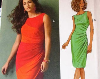 Butterick pattern, B5887, misses pullover dress, lined and semi-fitted, left side pleats, above knee and below knee, sz: 6, 8, 10, 12, 14