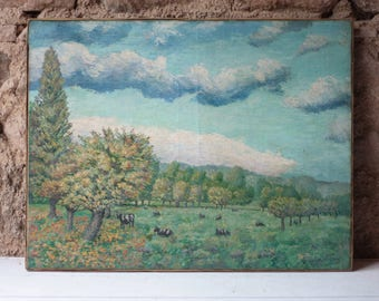 French Vintage Oil Painting, Autumn, by Octave Volant 1926