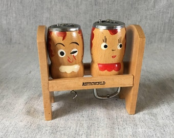 Vintage Astroland Souvenir Wooden People Salt & Pepper Shakers with Cork Screw and Bottle Opener
