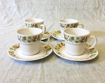 Vintage Noritake Progression Homecoming Cups and Saucers, Set of 4, Autumn Dinnerware