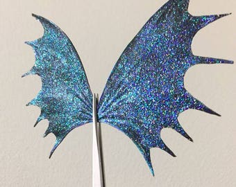 Black and Iridescent Goth Wings, Fairy Doll Wings