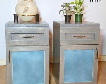 Grey & Blue Frosted Glass Nightstands