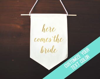 Here Comes The Bride Sign, Flower Girl Sign, Ring Bearer Sign, Wedding Banner Flag Sign, Canvas Banner Wedding Sign, Fabric Wedding Banner
