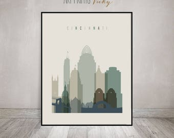 Cincinnati Print, Cincinnati Poster, Wall art, Cincinnati Skyline, Ohio art, City prints, Home Decor, Art prints, Gift, ArtPrintsVicky
