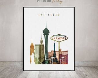 Las Vegas art print, Las Vegas skyline wall art, Las Vegas watercolor poster, travel decor, housewarming gift, wall decor, ArtPrintsVicky