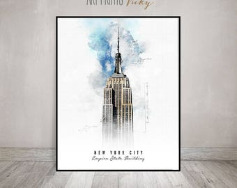 New York City Empire State Building Poster Contemporary Art Print   ArtPrintsVicky.com