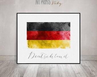 Germany flag print, Deutschland art poster, watercolor, Wall art, watercolor flag, typography art, office decor, Home Decor, ArtPrintsVicky