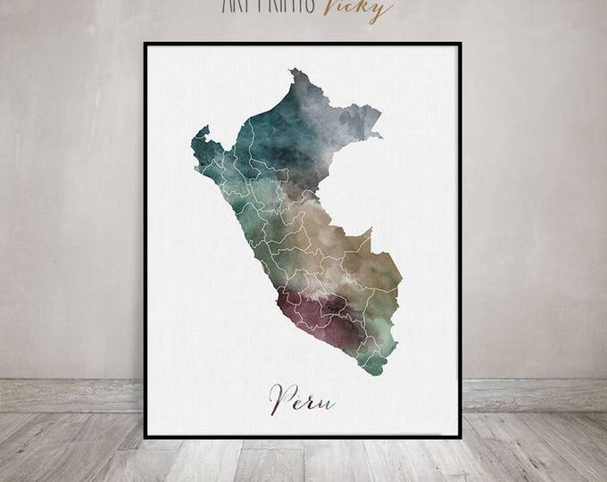 Peru watercolor map, Peru Wall art, Peru map poster, Peru watercolor print, Peru map poster, Peru painting, ArtPrintsVicky