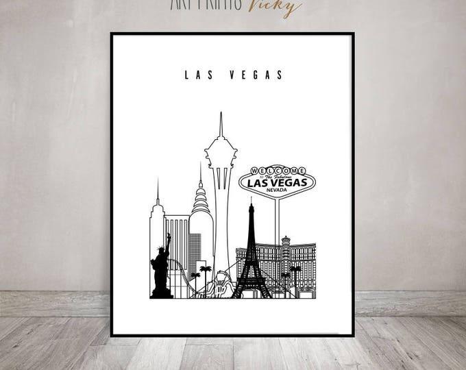 Wall art print,Las Vegas skyline, minimalist black & white poster, Texas cityscape, travel, city prints, Home Decor, Gift, ArtPrintsVicky.