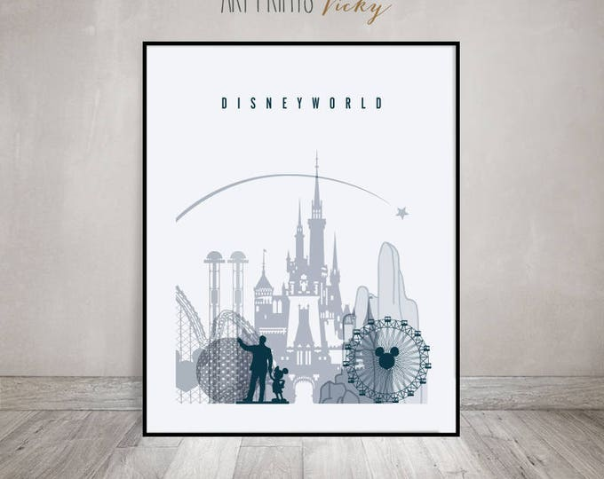 Disney World print, Disney world, Wall Art, Travel Poster, Wall decor, Typography art, Disneyland art poster, Digital print ArtPrintsVicky.