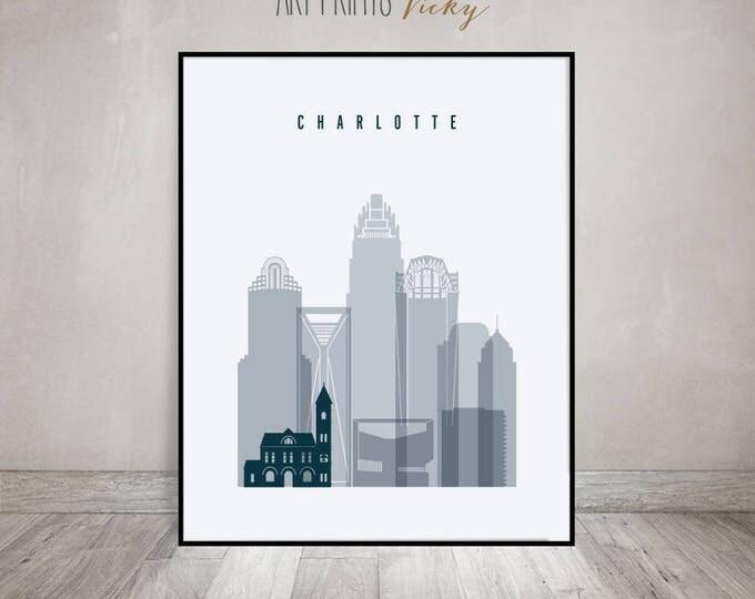 Charlotte skyline art, Charlotte print, Poster, Wall art, North Carolina, City print, Travel, housewarming gift, Home Decor, ArtPrintsVicky