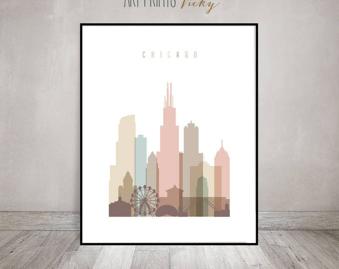 Chicago print, Chicago poster, Chicago skyline wall art, Travel decor, Travel gift, Illinois, City print, Home Decor, ArtPrintsVicky