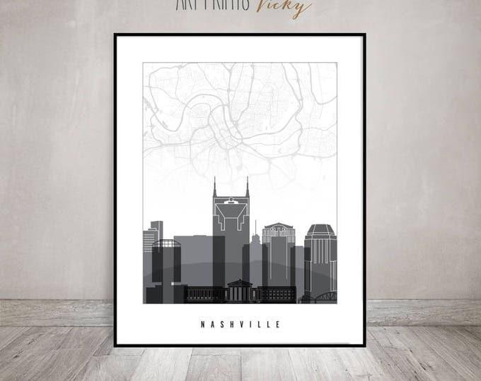 Nashville map art, Nashville skyline print, Nashville wall art black & white, Travel decor, Home Decor, Gift, ArtPrintsVicky
