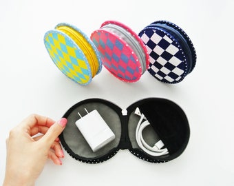 Argyle Round Zipper Pouch, Charger & Cable Storage, Cellphone Charger Holder, USB Cable Case, Traveller Gadget Organizer, Cable Holder