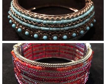 Vintage 90's Hippie Boho Beaded Cuff Bracelets • 1) Turquoise Beads + Silver Metal • 2) Pink & Orange Beads + Silver Metal • Hinged Opening