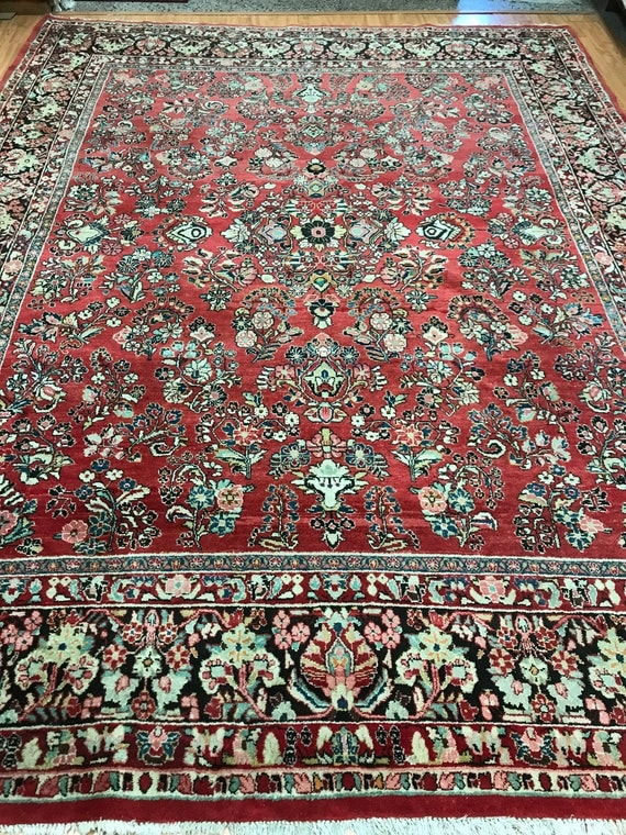 9' x 12' Antique Persian Sarouk Oriental Rug - 1930s - Full Pile - Hand Made