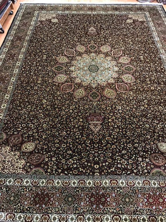 9' x 12' Turkish Oriental Rug - 550 KPSI - Hand Made - 100% Silk