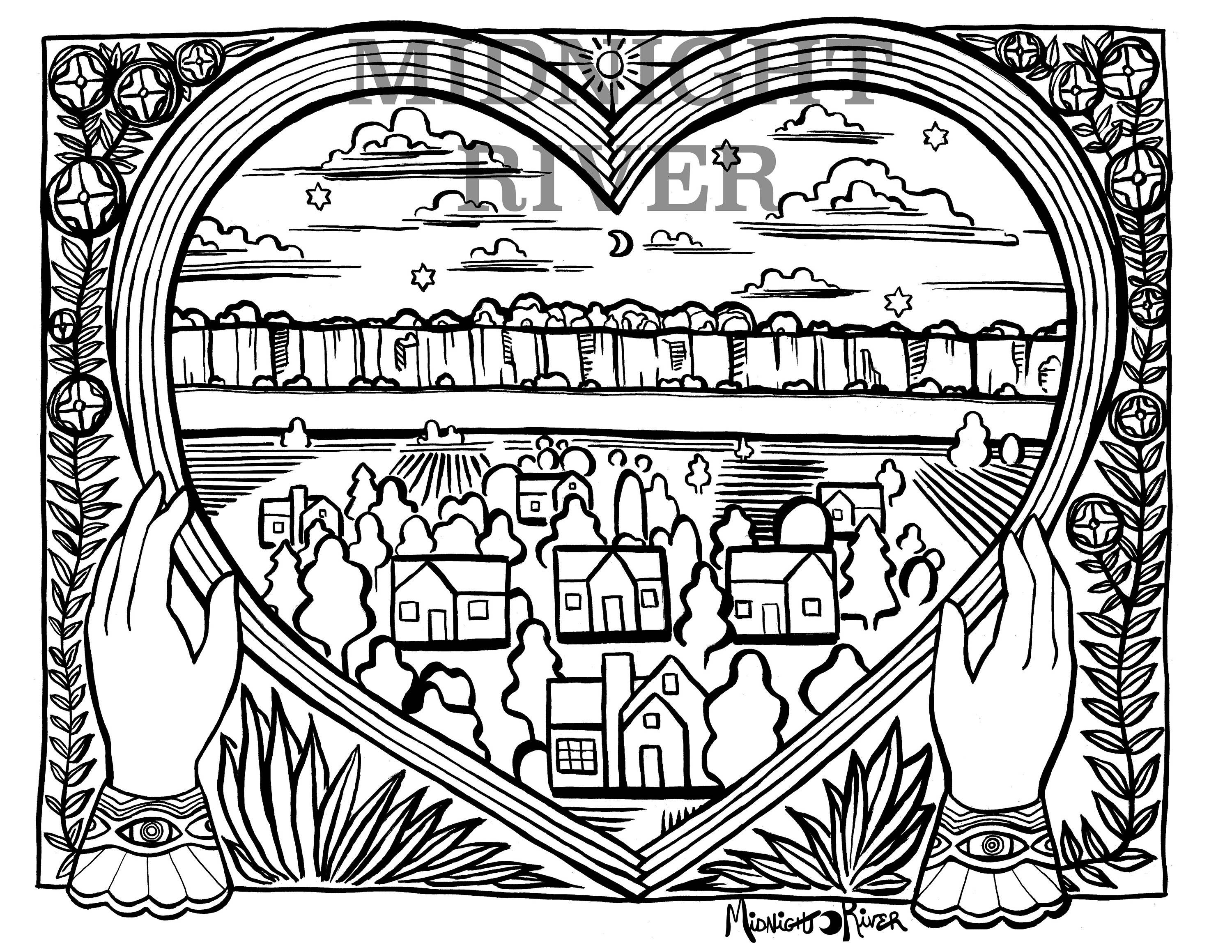 Printable Hands + Rainbow Heart Coloring Page // Town, Moon, Stars // Magical Adult Coloring PDF